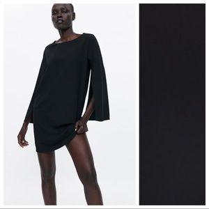 NWOT. Zara Black Flowy Mini Dress. Size M.
